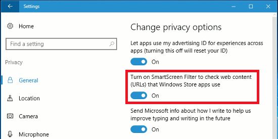 Enable SmartScreen in Windows 10 to protect against malicious URLs