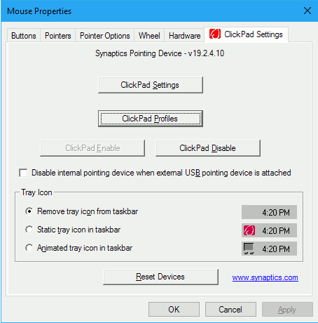 Synaptic ClickPad settings in the Control Panel in Windows