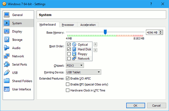 Speed up VirtualBox in Windows by allocations more memory