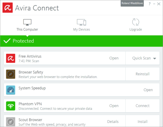 Avira Connect is the control centre for Avira Free Security 2017