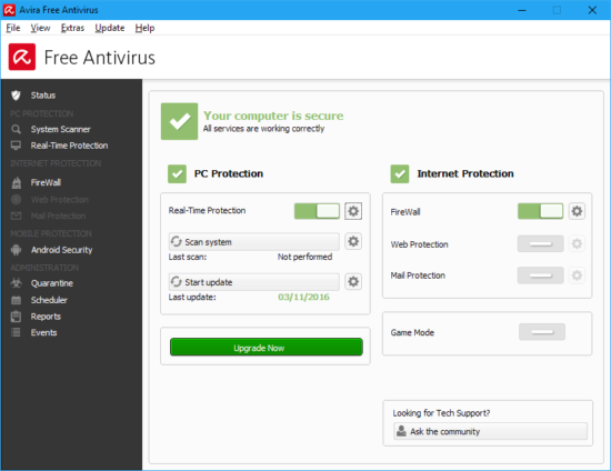 Avira Free Antivirus is one of the best performing security programs and the security is good too