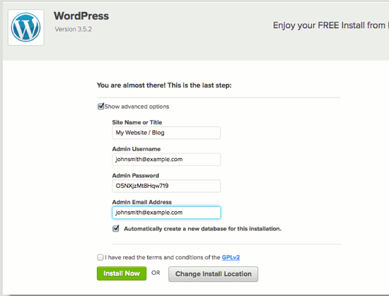 Fill in this form to configure the WordPress installation