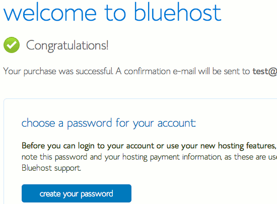 Create a password for your web hosting account