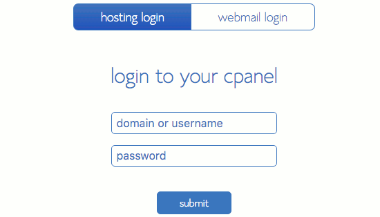 Log in to cPanel to administer your website