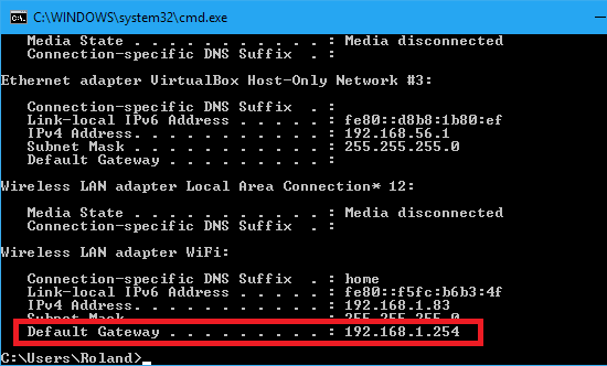 Type ipconfig at the command prompt in Windows to see network information