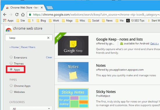 Google Keep app in the Chrome Web Store