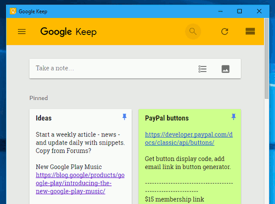 Google Keep running on the desktop like an app