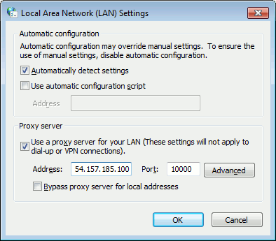 Enter the proxy server details into LAN settings within Internet Settings in Windows