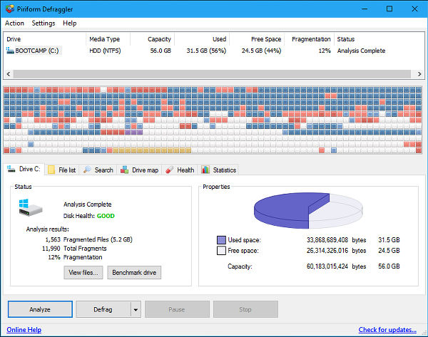 Piriform Defraggler is a free disk defragmenter for Windows that optimises the disk drive