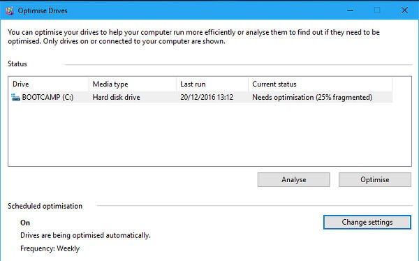 Windows disk defragmenter automatically optimises the disk