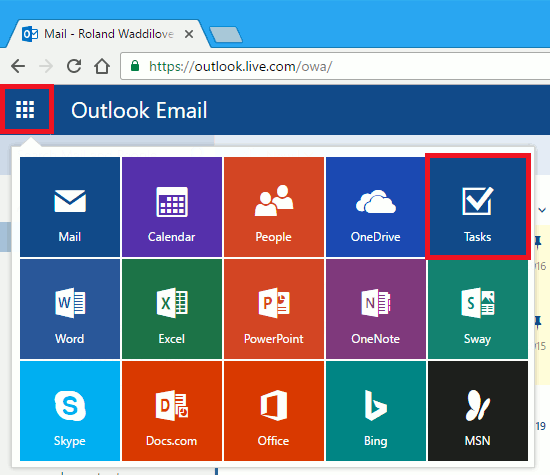 The app menu at the outlook.com website
