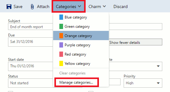 Create a new task using Outlook Tasks