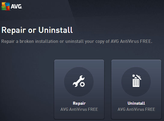 Run the AVG uninstaller and select the repair tool to fix problems