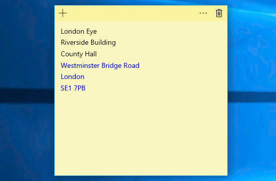 Enter an address into Windows Sticky Notes and it is recognised