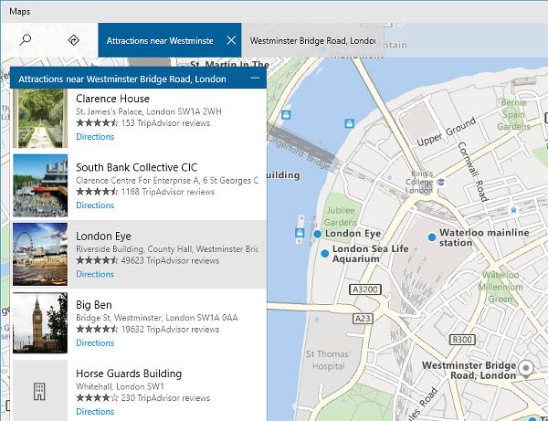 The Maps app in Windows 10