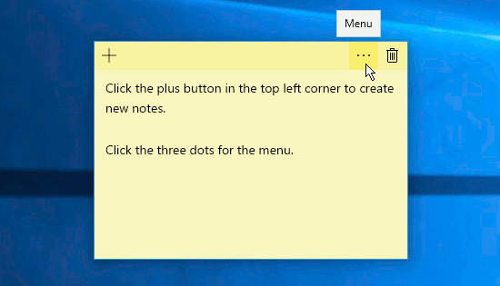 The menu button in the Windows 10 Sticky Notes app