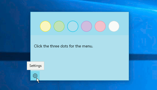 Select a colour for the sticky note on the desktop in Windows