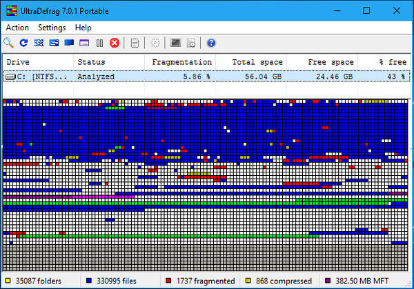 Ultra Defrag is an open source disk defragmenter