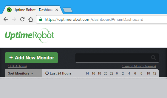 Add a website to monitor at Uptime Robot website