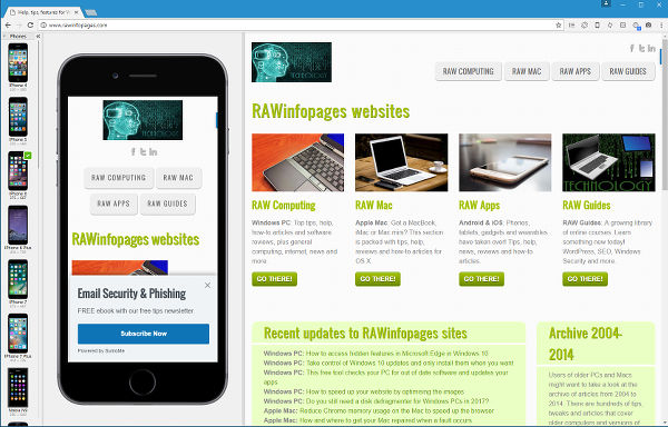 Blisk web browser emulates popular mobile phones and tablets
