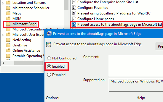Use the Group Policy Editor in Windows 10 to block access to Edge about:flags