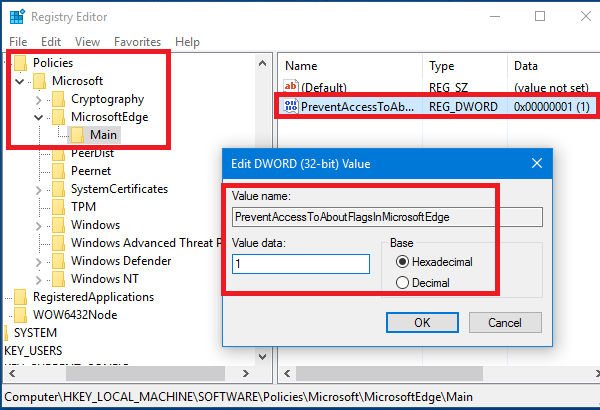 Use the registry editor in Windows 10 to block access to Edge about:flags