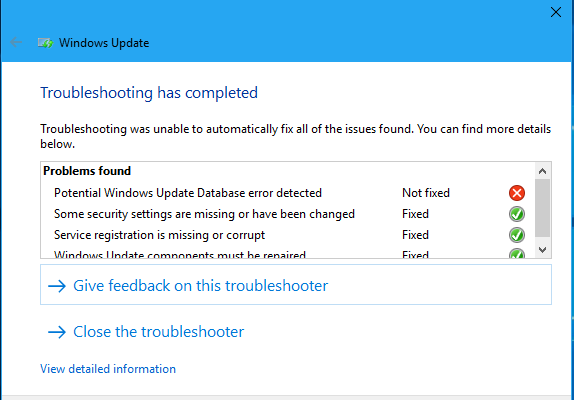 windows update database error detected