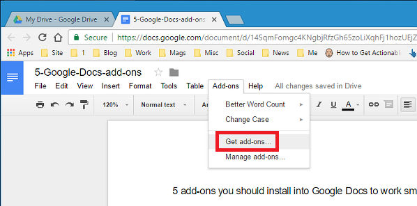 The Google Docs Add-ons menu
