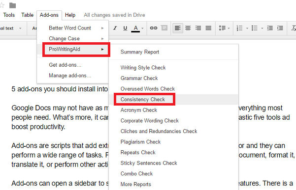 Using Google Docs add-ons