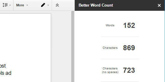 Better Word Count add-on for Google Docs