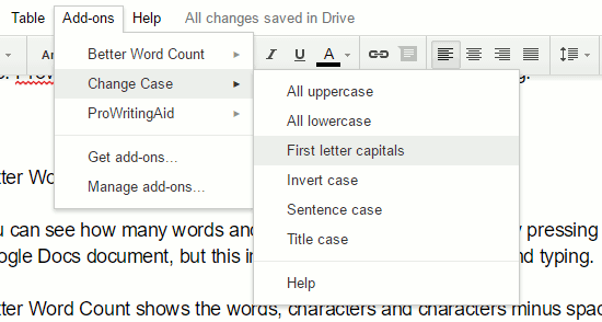 The Change Case Google Docs add-on