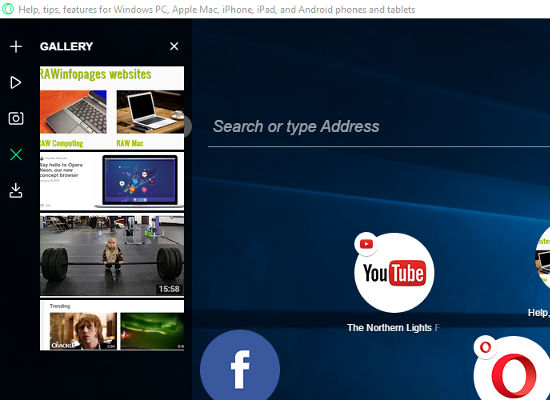 The Opera neon sidebar can play videos