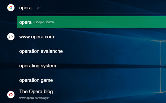 Searching the web with Opera Neon browser