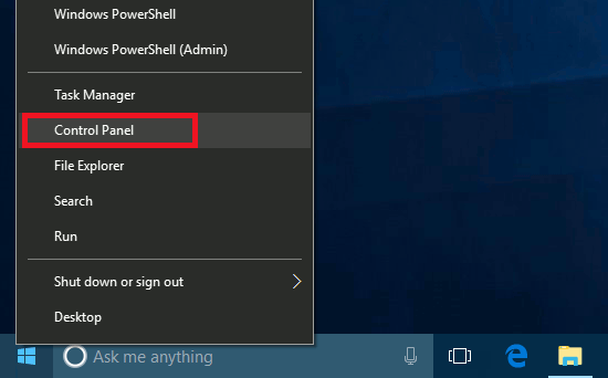 Right click the Start menu to open the Control Panel in Windows 10