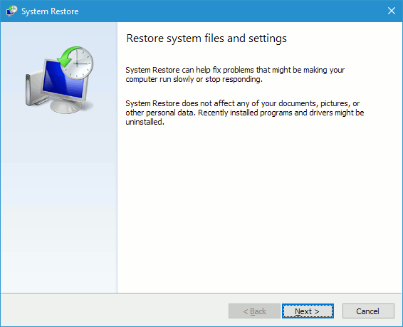 System Restore startup window in Windows 10