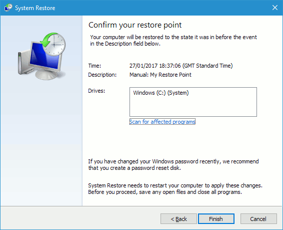 Restore a Windows restore point