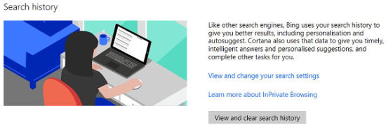 Microsoft privacy dashboard enables you to configure or clear the private information that has been gathered about you