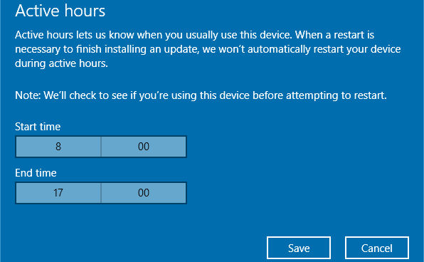 Change the active hours in Windows Update in Windows 10