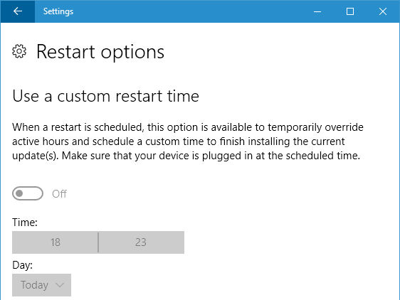 Set a custom restart time in Windows Update in Windows 10
