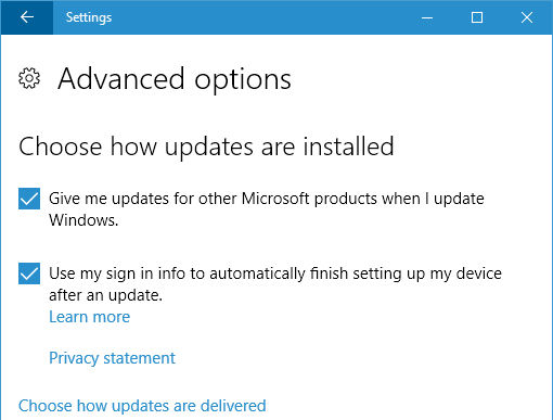 Windows Update advanced options in Windows 10