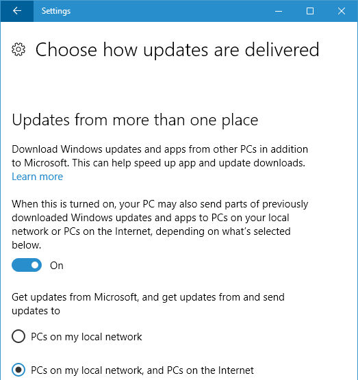 Choose how Windows 10 updates are delivered