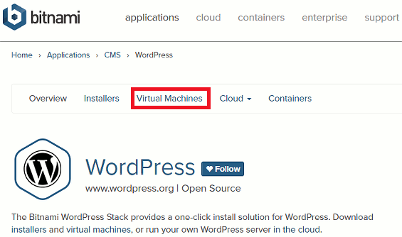 Get a WordPress virtual machine from the Bitnami website