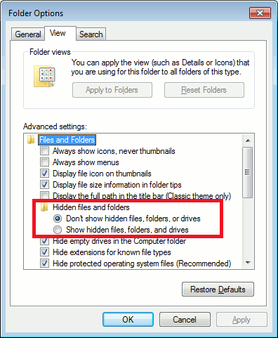 Set Windows Explorer not to show hidden files or folders