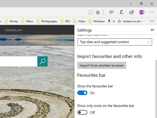 Microsoft Edge can import bookmarks from other browsers