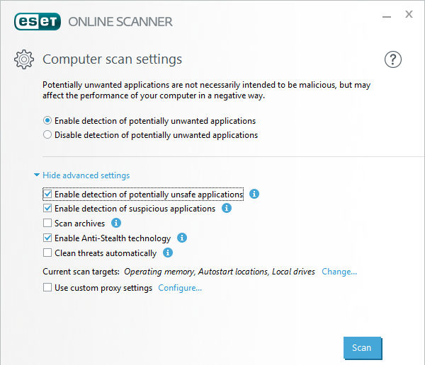 ESET Online Scanner scans the PC for malware and removes it