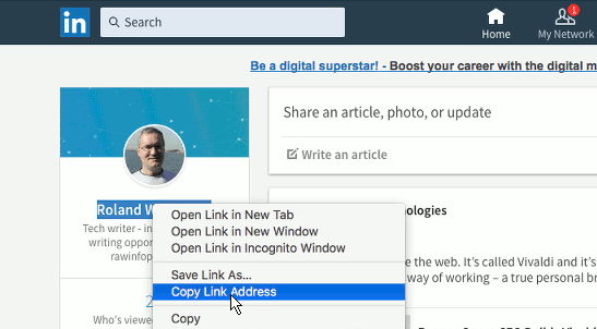 Get the URL to your LinkedIn profile