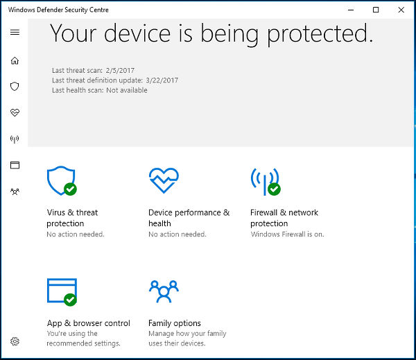 Windows Defender Security Centre in Windows 10 Creator's Update