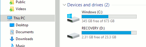 View the disk usage in Explorer