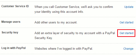 PayPal account options, including security keys