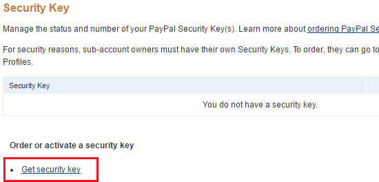 Get a PayPal security key to secure your account